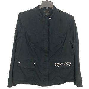 Lane Bryant Black Jacket Studded Canvas Coat Fall